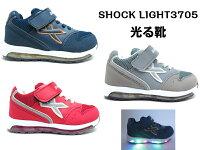 SHOCKLIGHT3705光る靴キッズジュニアスニーカーキラキラ光るスニーカーマジックLEDライト男の子紐なし子供靴紐無しキラキラ16cm17cm18cm19cm20cm