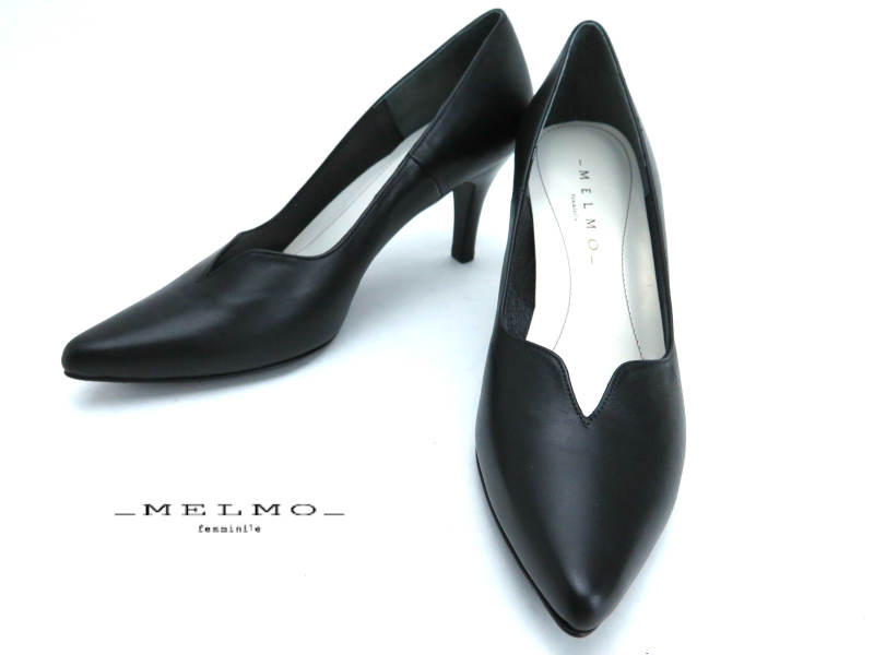 『メルモ』ML7375 2E ゆったりレディース 婦人靴 プレーンパンプス Vカット【日本製】 天然皮革 7.5cmヒール22cm 22.5cm 23cm 23.5cm 24cm 24.5cm