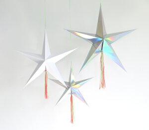 あす楽!【MeriMeriメリメリ】流れ星の星飾り3個セットタッセル付き【スターstar星デザインデコレーションパーティー装飾クリスマスにもイリディセントフリンジホワイト】