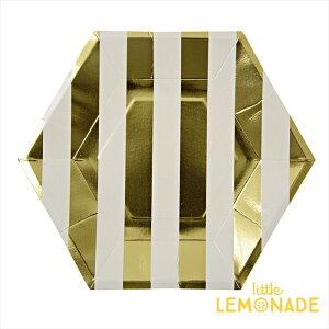 あす楽!【meri meri メリメリ】ゴールドストライプ ペーパープレート 8枚入り【gold stripe paper plate】パーティー用紙皿 クリスマス テーブルコーディネートに。