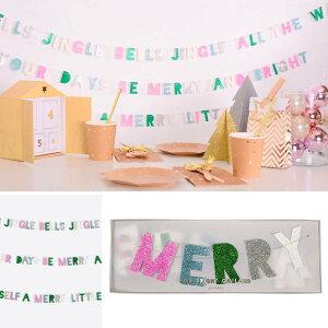 あす楽!【merimeriメリメリ】MERRY&BRIGHTクリスマスミニガーランドグリッターバナーメッセージレターバナーガーランド飾り雑貨christmaspartyツリーホームパーティ