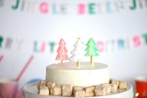 あす楽!【MeriMeriメリメリ2017クリスマス】カラフルツリーのパーティーピック3種セット12本入りハニカムホワイト・ネオンオレンジ・ネオングリーンのもみの木のフードピック【ChristmasXmasクリスマスパーティーケーキ飾りカップケーキ】リトルレモネード