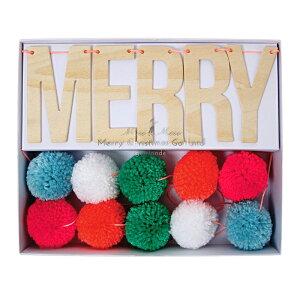 あす楽!【MeriMeri】MERRYCHRISTMAS木製プレートと毛糸のポンポンが付いたクリスマスのガーランド【装飾デコレーション飾り付けChristmasXmasクリスマスバナーフェルトボール】