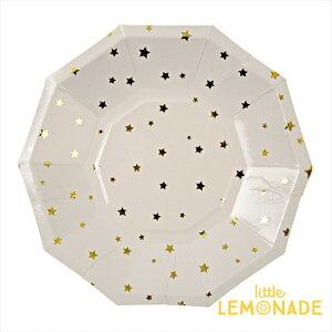 あす楽!【meri meri メリメリ】ゴールドスター ペーパープレート 8枚入り【gold star paper plate】パーティー用紙皿 クリスマス テーブルコーディネートに。