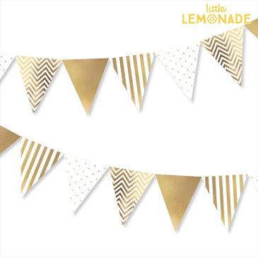 ペーパーペナントバナー/ゴールド【CHEVRON柄/ストライプ/ドット】【illume partyware】【ガーランド 三角 フラッグ 飾り 壁 結婚式 パーティー デコレーション グッズ GOLD】あす楽 リトルレモネード
