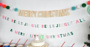 あす楽!【MeriMeri】MERRYCHRISTMAS木製プレートと毛糸のポンポンが付いたクリスマスのガーランド【装飾デコレーション飾り付けChristmasXmasクリスマスバナーフェルトボール】メリークリスマスリトルレモネード