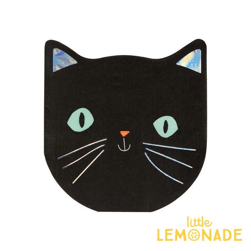 【Meri Meri】猫 ペーパーナプキン ハロウィンパーティー ネコ BLACK CAT NAPKIN イリディセント Halloween ハロウィーン 紙ナプキン ペーパータオル テーブルコーディネート 飾り付け あす楽 リトルレモネード画像