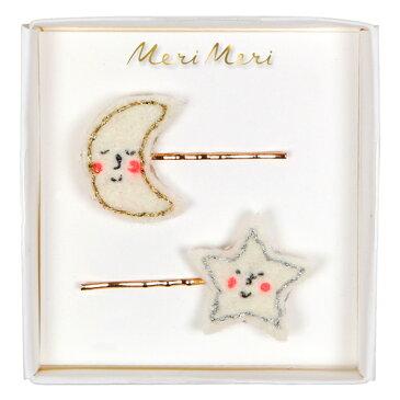 【MeriMeri】パーティのおめかしに♪フェルトムーン&スター・ヘアピン2個入セット★お一人様一回限り使えるクリスマスクーポン★ご利用ください♪