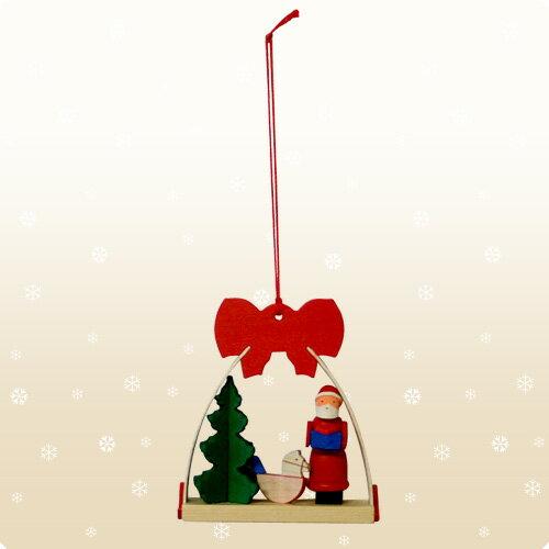 【クリスマス用品】Graupner:グラウプナー・赤いリボンのオーナメント・サンタと木馬[ Christmas:クリスマスオーナメント ]★お一人様一回限り使えるクリスマスクーポン★ご利用ください♪