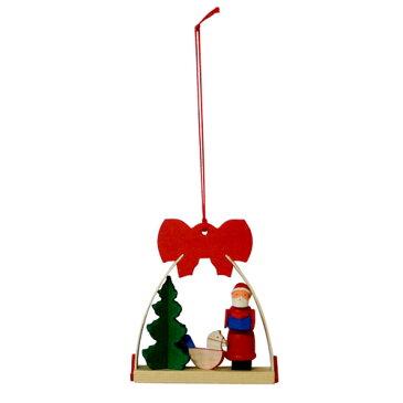 【クリスマス用品】Graupner:グラウプナー・赤いリボンのオーナメント・サンタと木馬[ Christmas:クリスマスオーナメント ]