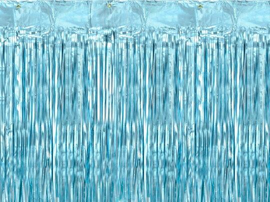 ホイルカーテン ブルー フリンジカーテン バックドロップ 誕生日 ガーランド バースデー パーティー 背景 空間デコレーション カーテン キラキラ ウエディング ベビーシャワー 飾り付け 装飾 おしゃれ かわいい [PartyDeco]画像