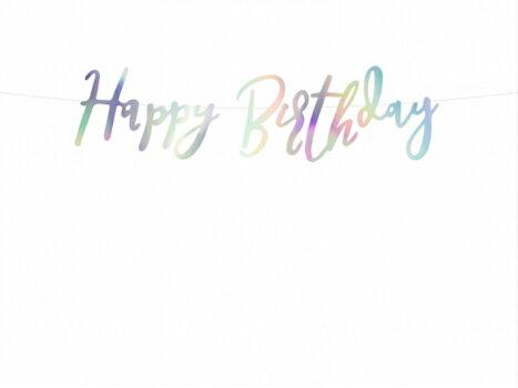 HappyBirthdayガーランドイリディセントカラーオーロラ色ガーランド筆記体バナースクリプトガーランド誕生日バースデーパーティー装飾飾り付け[PartyDeco]