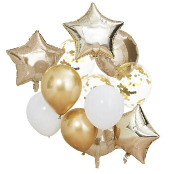 コンフェッティバルーンシルバー5枚入りゴム風船バルーン誕生日バースデーパーティークリスマスウエディングキラキラ飾り付け装飾[GingerRay]