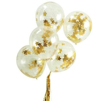 星のコンフェッティバルーンシルバー5枚入りゴム風船コンフェッティキラキラ星誕生日バースデーパーティークリスマスウエディング装飾飾り付け