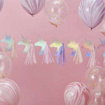 ユニコーン&タッセルガーランドユニコーンバースデー誕生日女の子パーティー飾り付けデコレーション装飾[GingerRay]