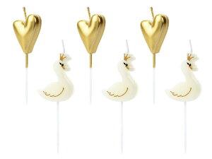 バースデーキャンドル Lovely Swan[6本入り]バースデー キャンドル ケーキトッパー 誕生日 誕生日ケーキ スワン ハート 女の子 パーティー お祝い おしゃれ かわいい [PartyDeco]
