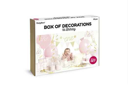 1歳誕生日デコレーションセットgirl女の子バースデー誕生日デコレーションパーティーセットパーティーキットピンクおしゃれかわいい誕生日会装飾飾り付けパーティー風船ガーランド[PartyDeco]