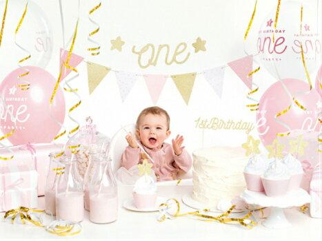 1歳誕生日デコレーションセットgirl女の子バースデー誕生日装飾飾り付けパーティー風船ガーランド[PartyDeco]