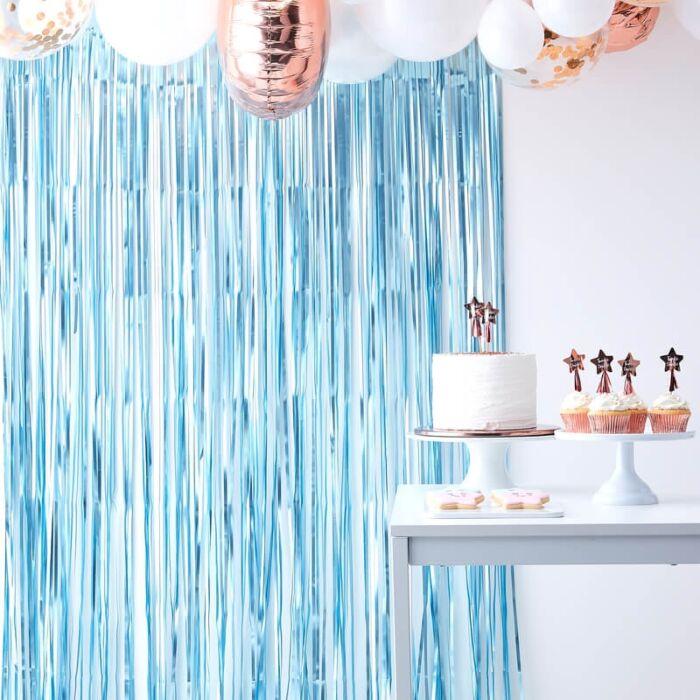 ホイルカーテン マットブルー フリンジカーテン バックドロップ 誕生日 ガーランド バースデー パーティー 背景 空間デコレーション カーテン キラキラ ウエディング ベビーシャワー 飾り付け 装飾 おしゃれ かわいい [GingerRay]画像