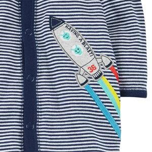 カーターズカバーオールロンパースCarter's2017年秋冬最新作正規品コットンカバーオール足つき長袖男の子ベビー服エイリアン