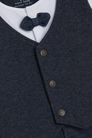 NEXTネクストカバーオール2018年春最新作ロンパーススリープウェア足つき長袖男の子ベビー服蝶ネクタイ付きグレー×ホワイトサスペンダープリント