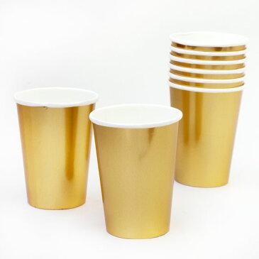 ペーパーカップ 紙コップ おしゃれ かわいい パーティ クリスマスパーティ アウトドア BBQ 北欧雑貨 輸入雑貨 デンマーク rice ライスペーパーカップ 8個セット ゴールド