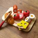 おままごと 木製 食材 パン 卵 朝ごはん マジックテープ 包丁 まな板 ギフト プレゼント 輸入玩具 New Classic Toys ニュークラシックトイズ カッティングミール ブレックファースト