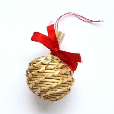 クリスマス オーナメント ストローオーナメント クリスマスツリー 飾り おしゃれ ナチュラル ストローオーナメント ボール レッドリボン Little Fellows