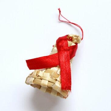 クリスマス オーナメント ストローオーナメント クリスマスツリー 飾り おしゃれ ナチュラル ストローオーナメントベル レッドリボン Little Fellows