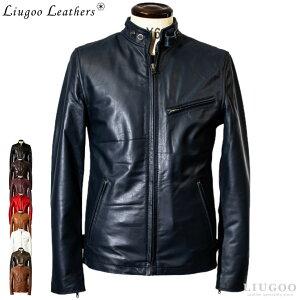 Liugoo Leathers 本革 シングルライダースジャケット メンズ リューグーレザーズ SRS01A シングルライダース ライダースジャケット レザージャケット 革ジャン 皮ジャン ダブルライダース 本革ジャケット ブラック 黒 ジャケット