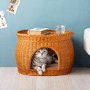 キャットハウス 猫ベッド ガラス天板 2way ガラステーブル カフェテーブル ペット用ベッド センターテー...