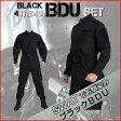 迷彩服 上下 BDU セット SWAT タイプ ブラック ジャケット + ズボン + ベルト + キャップ サバゲー 装備 服 黒 戦闘服 上下セット SWAT コスチューム サバイバルゲーム 装備 初心者 迷彩服 SWAT コスプレ メンズ 女性 レディース