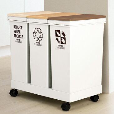 【送料無料】ゴミ箱 資源ゴミ分別 横型3分別ワゴン ( ごみ箱 ダストボックス 防臭 スリム キッチン 台所 おしゃれ )