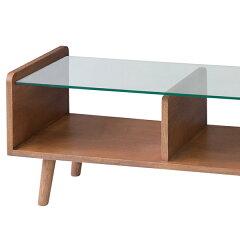センターテーブルローテーブルガラス天板フレック天然木アッシュ材幅120cm