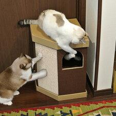 キャットハウス 2階建て またたび 爪とぎ付き 猫 nekoto コーナースクラッチハウス