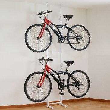 突っ張り 自転車ラック 2段 スチール製 幅31.5〜46.5cm ( 送料無料 自転車収納 室内 サイクル スタンド 2台用 サイクルハンガー バイクタワー 壁掛け 突張り 自転車ハンガー 自転車 ディスプレイ バイクハンガー ロードバイク )