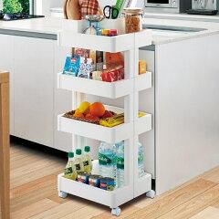 キッチン収納スマートワゴン4段プラスチック製組立式