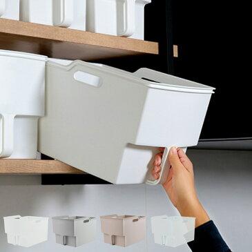 キッチン収納ケース 吊り戸棚ボックスワイド 幅24cm ( 収納ボックス 整理ケース 取っ手付き 戸棚収納 収納BOX 収納ストッカー キッチンストッカー 吊戸棚用 収納 収納カゴ キッチン収納 プラスチック 収納用品 マルチ収納 )