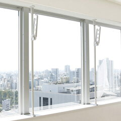室内物干しつっぱり式物干しポール窓枠用竿受け