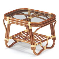 籐 ガラステーブル ラタンテーブル 幅60cm
