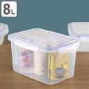 保存容器 4面ロック式 スマートロック ジャンボケース 8L ( 密閉容器 密閉保存容器 4点ロック プラスチック製保存容器 フードストッカー 保存ケース 食品保存 ドッグフード キャットフード ペットフード 角型 長方形 目盛り付き )