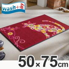 玄関マット wash+dry ウォッシュアンドドライ Flower Cat 屋内屋外兼用 50×75cm