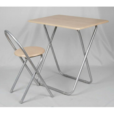 フォールディングテーブルセット ナチュラル ( 机 椅子 イス 折りたたみ 送料無料 )