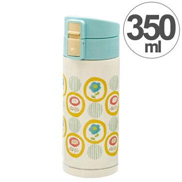 水筒 ルシェルシュ ワンプッシュボトル ドットフラワー 350ml ステンレス製 ( ステンレスボトル 直飲み 保温 保冷 ワンタッチオープン 軽量 女性 女子 )