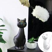 ねこのスタンドモップ ねこのしっぽ ( ハンディモップ ケース付きモップ 掃除用具 くろねこ 黒猫 黒ネコ )
