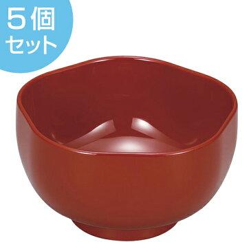 椀 400ml 日本製 漆塗 福梅椀 朱 5個セット ( 送料無料 和食器 小鉢 お椀 鉢 食洗機対応 漆器 漆 和食 食器 )