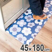 キッチンマット 45×180cm 拭ける 北欧風キッチンマット フラワー
