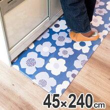 キッチンマット 45×240cm 拭ける 北欧風キッチンマット フラワー
