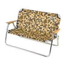 折りたたみ椅子 アルミ背付ベンチ キャンプアウト カモフラージュ 2人掛け