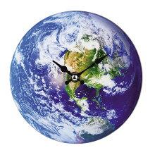 掛け時計 置き時計 卓上ガラス時計 ROUND 17cm Earth 地球